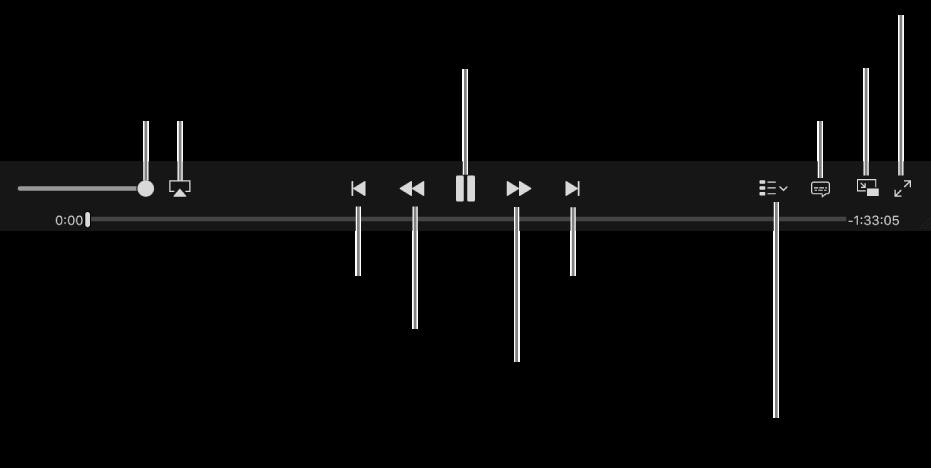 Videoregelaars: Volume, AirPlay, Vorige video, Achteruitspoelen, Afspelen/pauzeren, Vooruitspoelen, Volgende video, Hoofdstukselectie (alleen voor films), Ondertiteling, Beeld in beeld en Schermvullend.