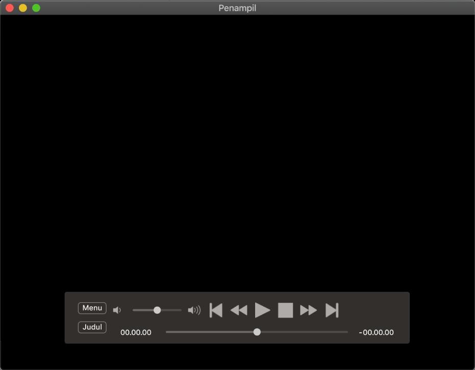 Pengontrol Pemutar DVD, dengan penggeser volume di area kiri atas dan penggosok di bagian bawah. Seret penggosok untuk membuka tempat yang berbeda.