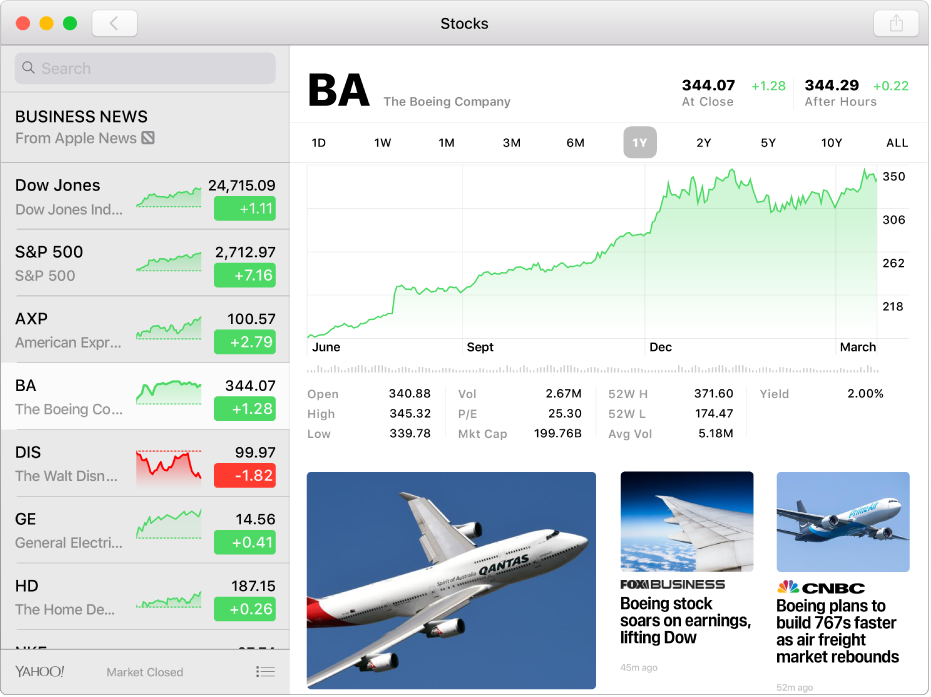 A Stocks window, showing the watchlist on the left, a chart in the upper right, and news headlines in the lower right.