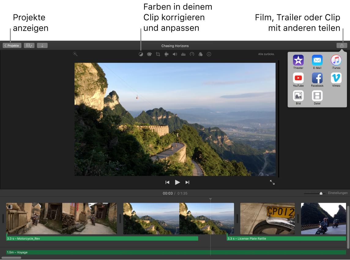 iMovie-Fenster mit Tasten zum Anzeigen von Projekten, Korrigieren oder Anpassen von Farben und Teilen deines Films, Trailers oder Filmclips.