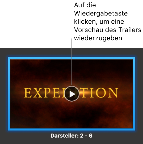 iMovie-Trailer mit Wiedergabetaste