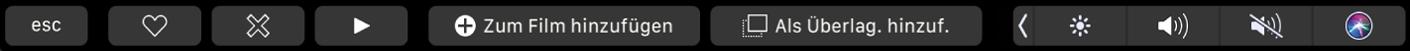 Die iMovie-TouchBar mit Tasten zum Markieren als Favorit, zum Löschen, Wiedergeben, zum Hinzufügen zum Film sowie zum Hinzufügen als Überlagerung.