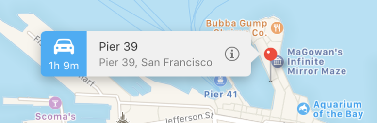Location pinned on a map with a banner displaying the information button and a Yelp rating.