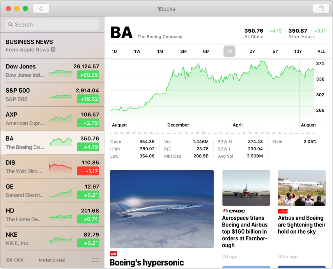 Stocks dashboard showing market prices in a watchlist with accompanying timelines and news.