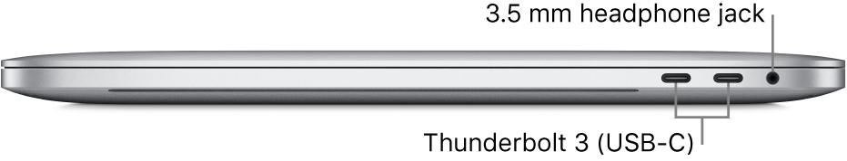 Right side view of a MacBook Pro with callouts to the two Thunderbolt3 (USB-C) ports and the 3.5 mm headphone jack.