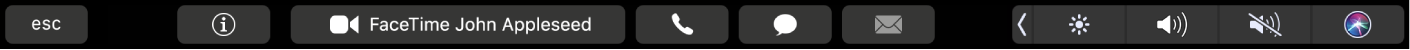 The FaceTime Touch Bar displaying buttons for getting info about a contact, and for making a video or audio call, or sending a message or email.