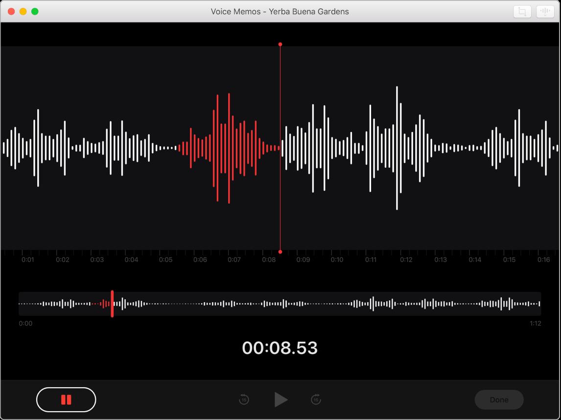 Voice Memos window showing a recording in progress.