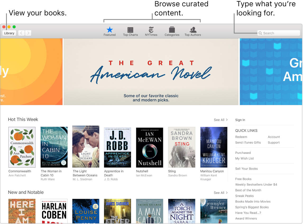 Apple Books window showing how to view books, browse curated content, and search.
