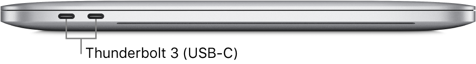 Left side view of a MacBook Pro with callouts to the Thunderbolt3 (USB-C) ports.