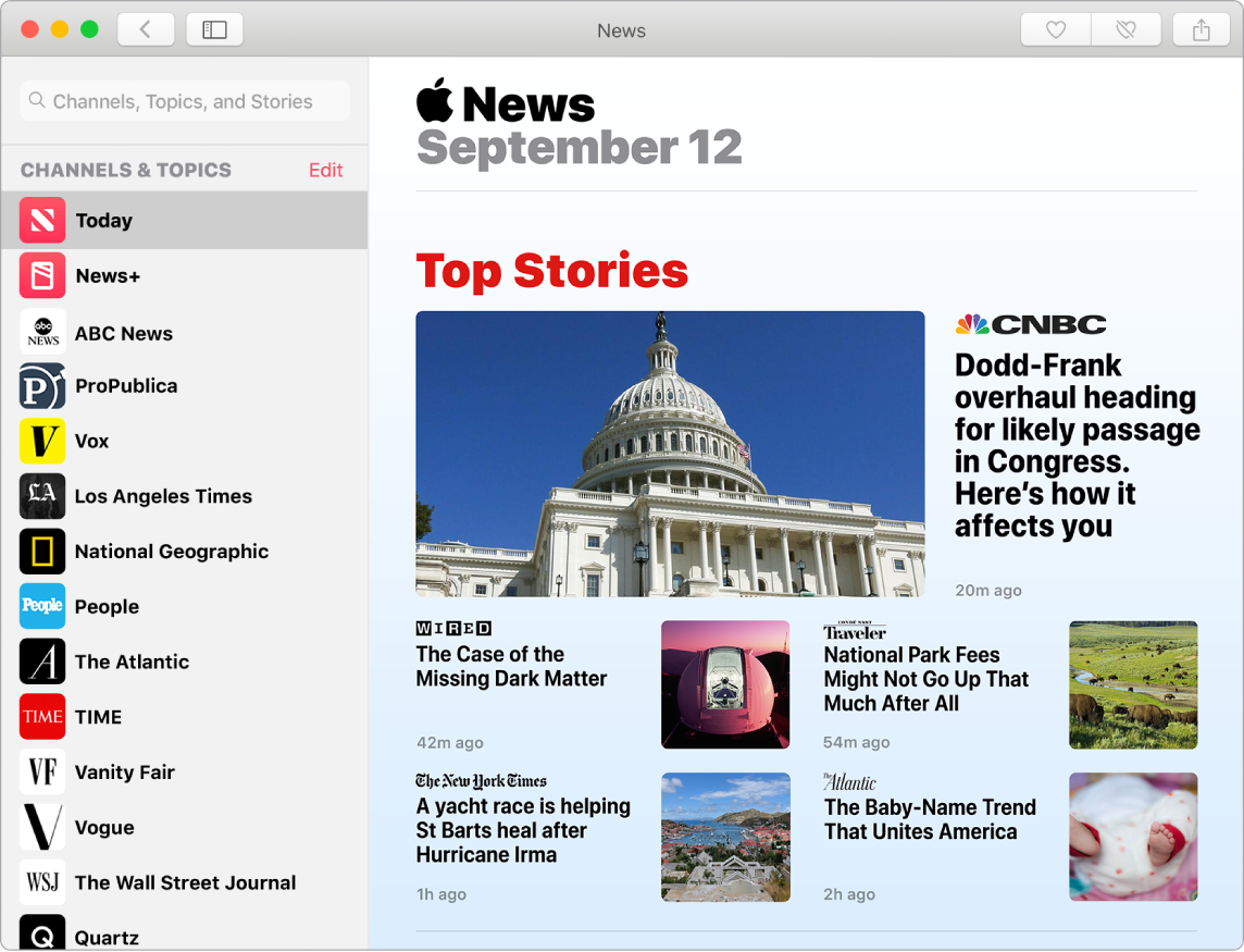 News dashboard showing the watchlist and the Top Stories view.