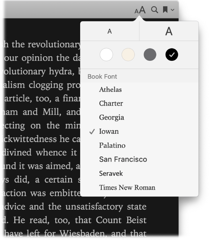An Apple Books page showing the Appearance menu.