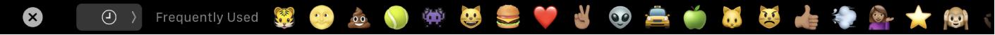 The TouchBar displaying the emoji picker.