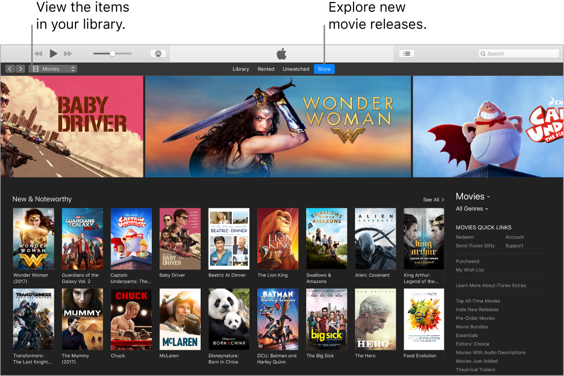 iTunes window showing how to view your library, subscribe to Apple Music, and browse new releases.