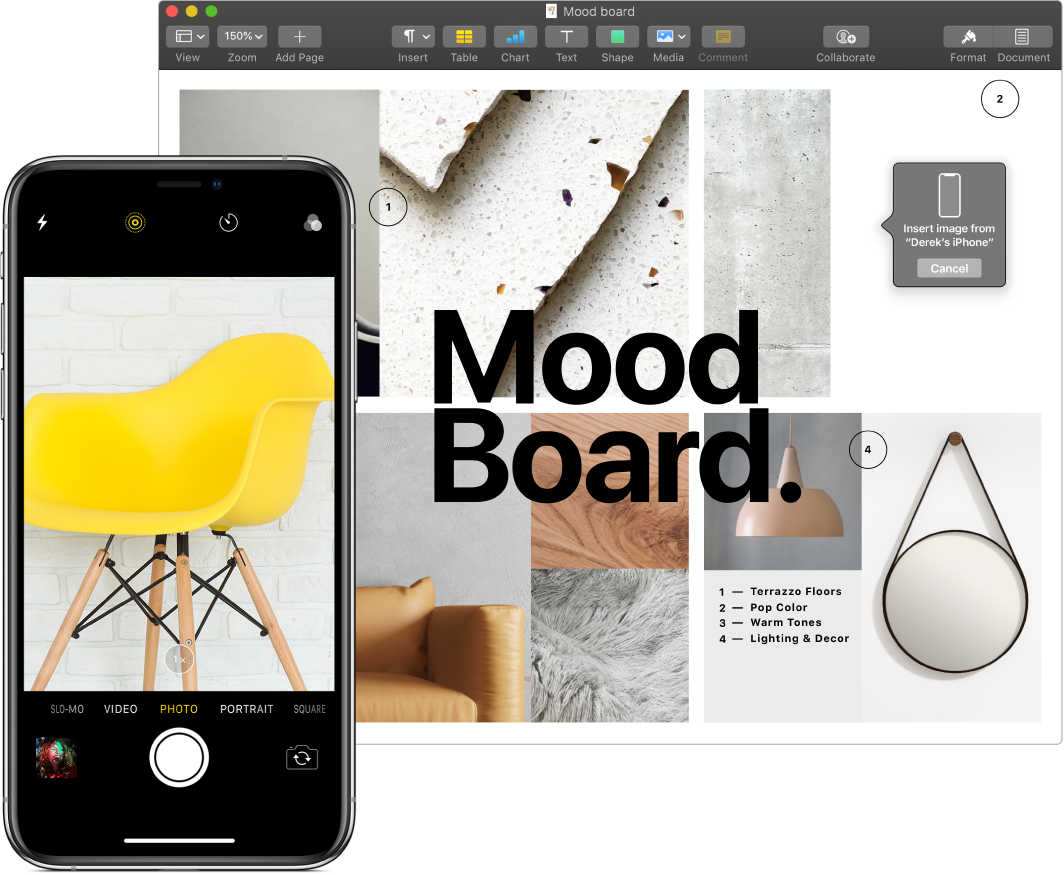 A Pages document displays a prompt where an image will go, and an iPhone showing a photo of a yellow chair.