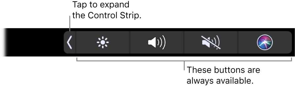 A partial screen of the default TouchBar, showing the compressed Control Strip. Tap the expand button to show the full Control Strip.