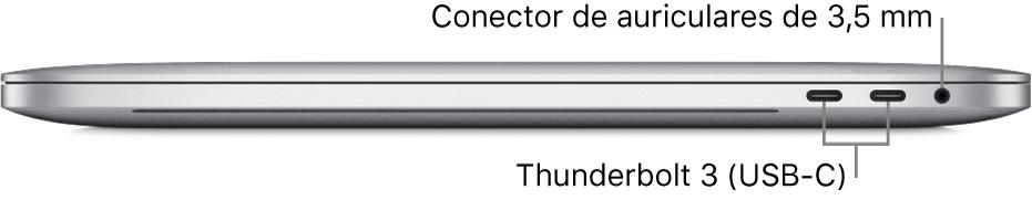 Vista del lado derecho de un MacBookPro con indicaciones sobre los dos puertosThunderbolt3 (USB-C) y el conector para auriculares de 3,5mm.