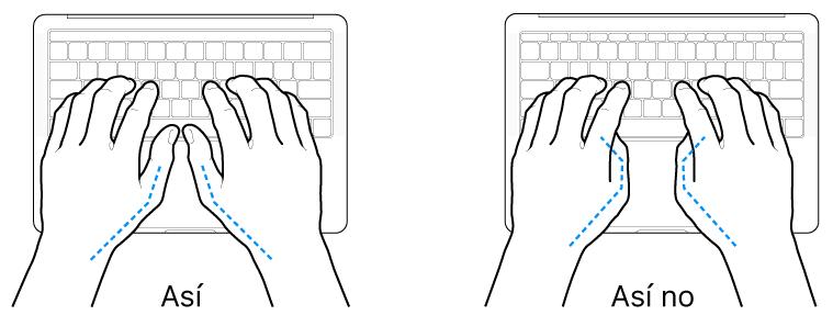 Manos colocadas sobre un teclado que muestran una posición correcta e incorrecta de los pulgares.