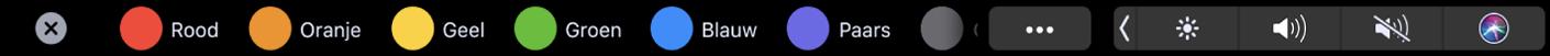 De TouchBar voor de Finder met tags die je kunt toepassen.