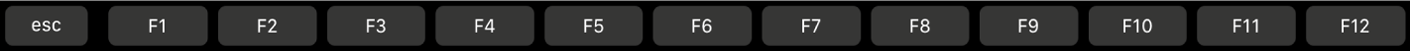 De TouchBar met de functietoetsen F1 tot en met F12.