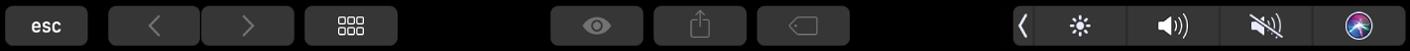 De TouchBar voor de Finder met knoppen voor het wijzigen van de weergave, het weergeven van een voorvertoning, delen en het toevoegen van tags.