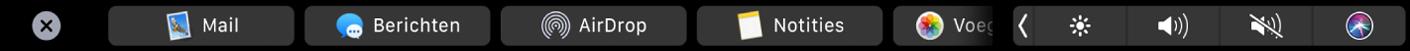 De TouchBar voor de Finder met opties voor delen.