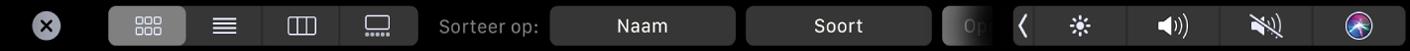 De TouchBar voor de Finder met opties voor weergave en sorteren.