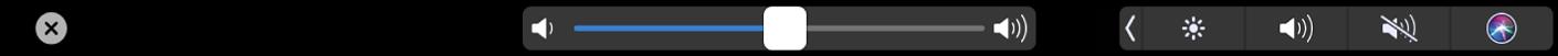 De TouchBar voor iMovie met de schuifknop voor het volume.
