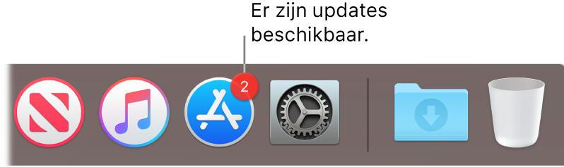 Het AppStore-symbool in het Dock, met een badge die het aantal beschikbare updates aangeeft.