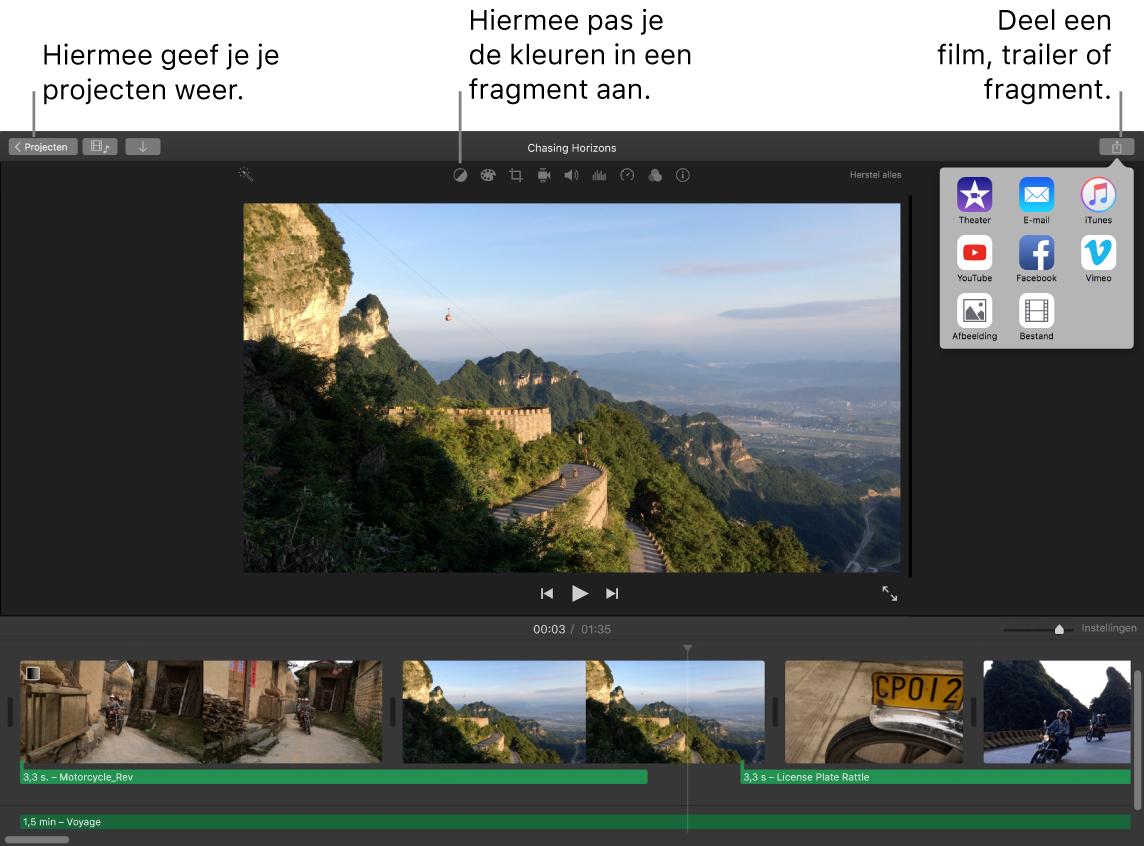 iMovie-venster met knoppen voor het weergeven van projecten, het corrigeren en aanpassen van kleuren en het delen van je film, trailer of filmfragment.