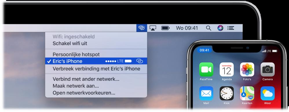 Het scherm van een Mac met het wifimenu met daarin een persoonlijke hotspot verbonden met een iPhone.