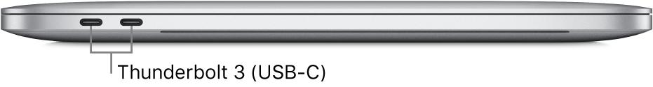 Linkeraanzicht van een MacBookPro met bijschriften voor de Thunderbolt3-poorten (USB-C).