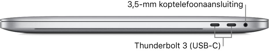 Rechteraanzicht van een MacBookPro met bijschriften voor de twee Thunderbolt3-poorten (USB-C) en de 3,5-mm koptelefoonaansluiting.