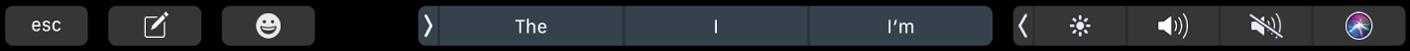 De TouchBar voor Berichten met knoppen voor het opstellen van een bericht en het invoeren van emoji. Ook zijn er knoppen met suggesties voor tekst.