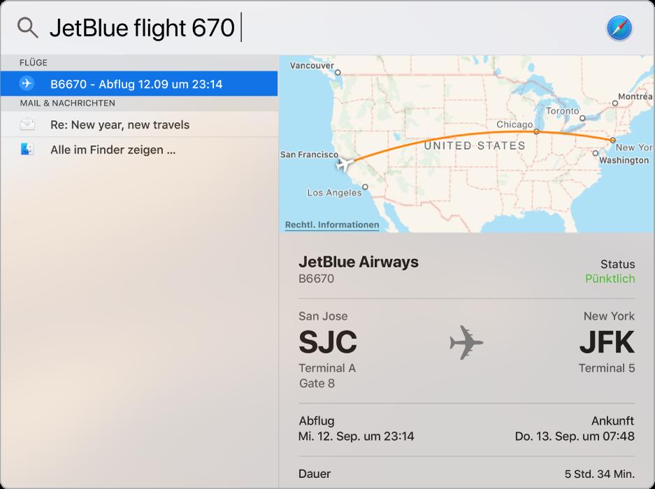 """Das Fenster """"Spotlight"""" zeigt eine Karte und die Fluginformationen für den gesuchten Flug an."""