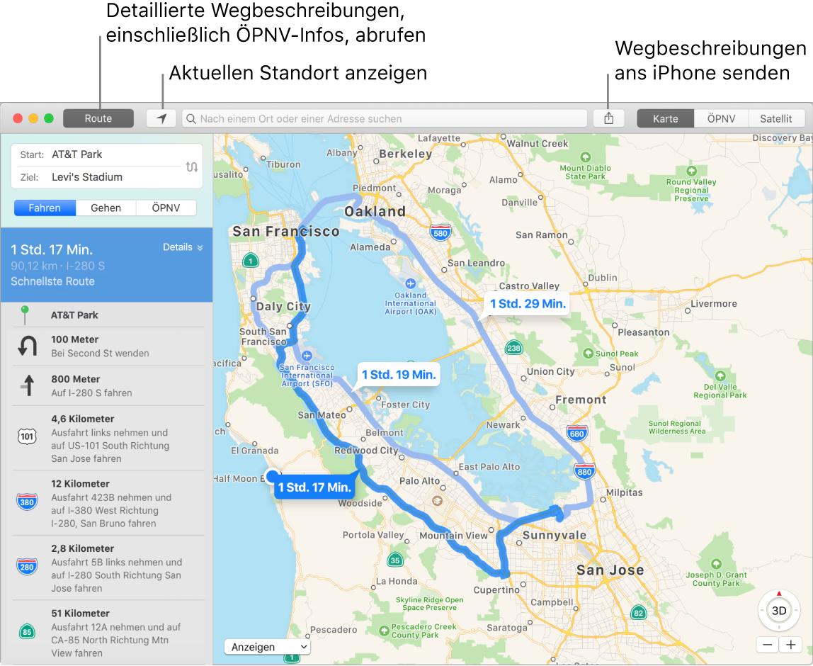 """Karten-Fenster mit Informationen zum Anzeigen von Routen durch Klicken auf """"Route"""" oben links und zum Senden von Wegbeschreibungen ans iPhone mithilfe der Taste """"Teilen"""""""
