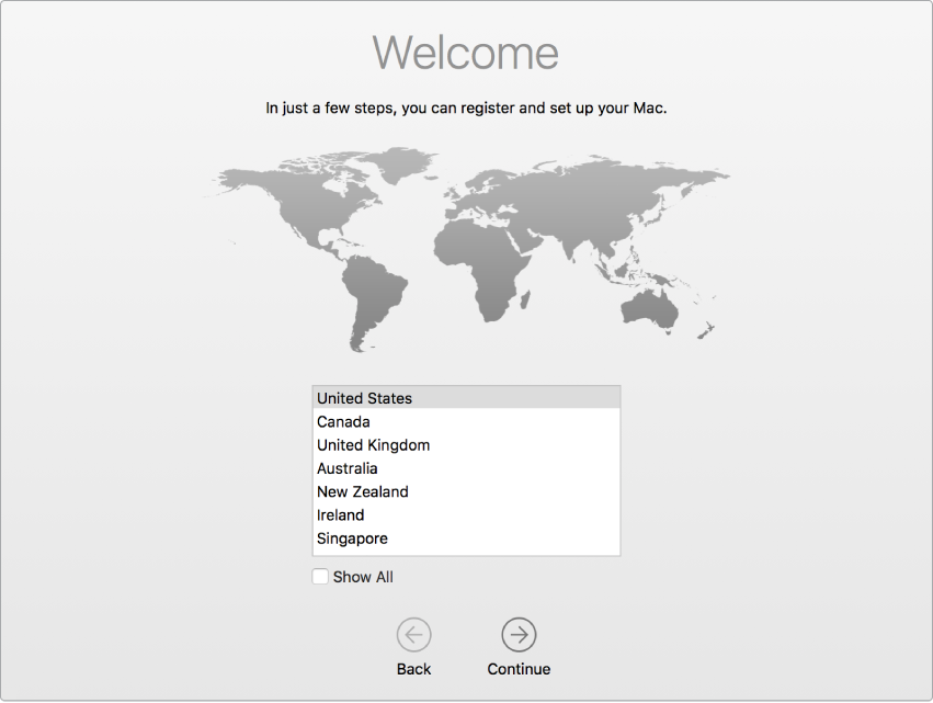 Mac screen with Setup Assistant showing the Welcome screen.