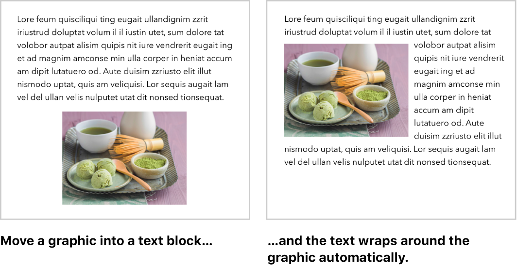 Pages window showing how text wraps around graphics.