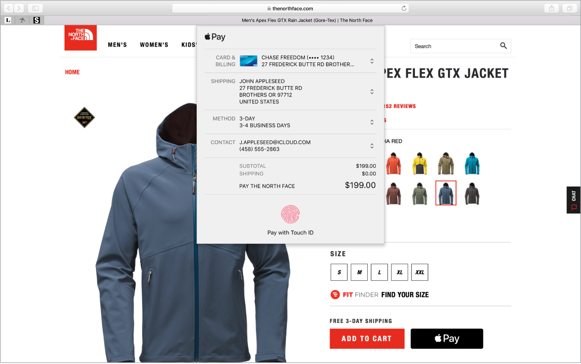 A screenshot showing an online purchase in progress using the Apple Pay option.