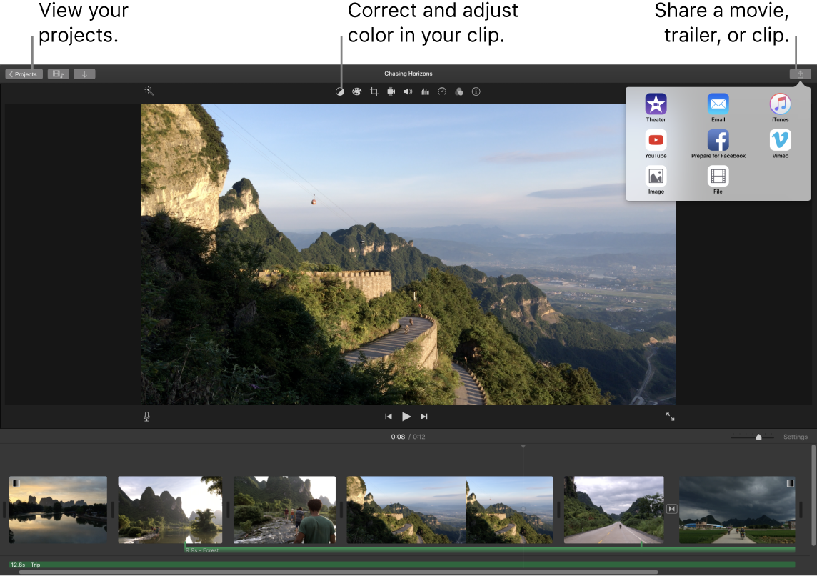 iMovie window showing the buttons for viewing projects, correcting and adjusting color, and sharing your movie, trailer, or film clip.
