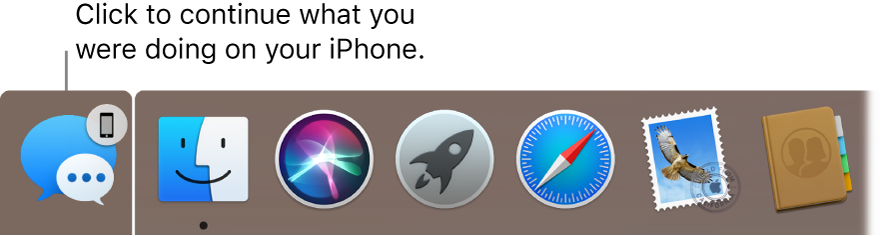 The Handoff icon to the left of the Dock.