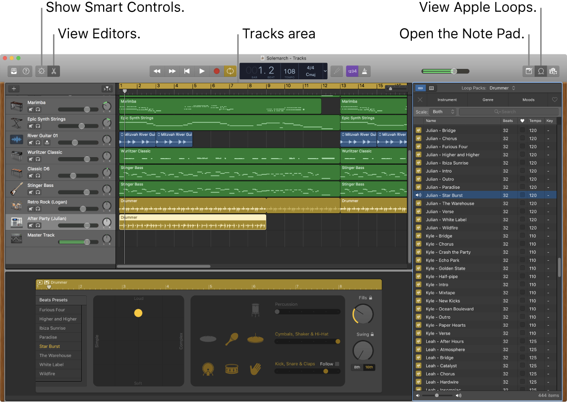 GarageBand window showing the buttons for accessing Smart Controls, Editors, Notes, and Apple Loops. It also shows the tracks display.