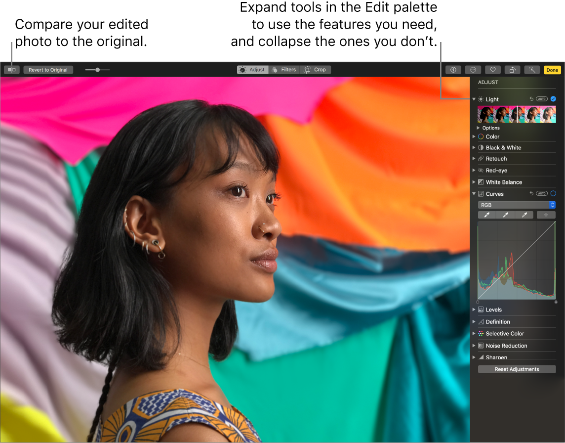 Photos window showing features of the new Edit palette.