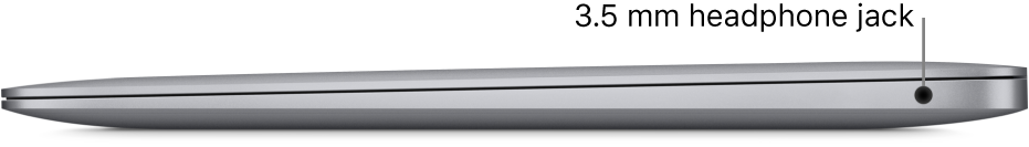 Right side view of a MacBook Pro with callouts to the two Thunderbolt 3 (USB-C) ports and the 3.5 mm headphone jack.