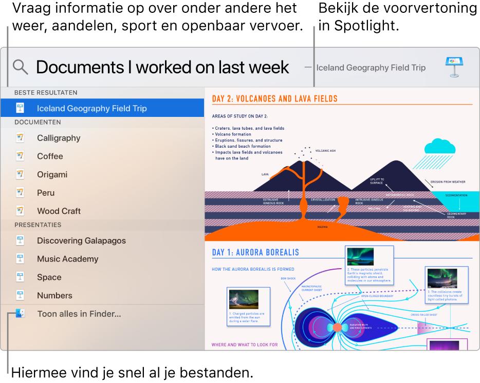 Het Spotlight-venster met zoekresultaten aan de linkerkant en een voorvertoning aan de rechterkant.