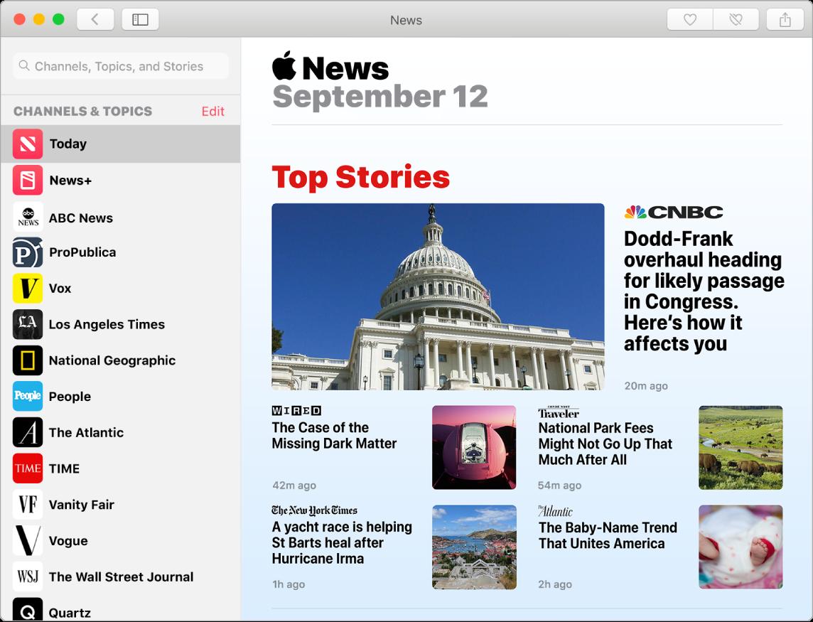 News-oversikten, som viser listen din og Top Stories-visningen.