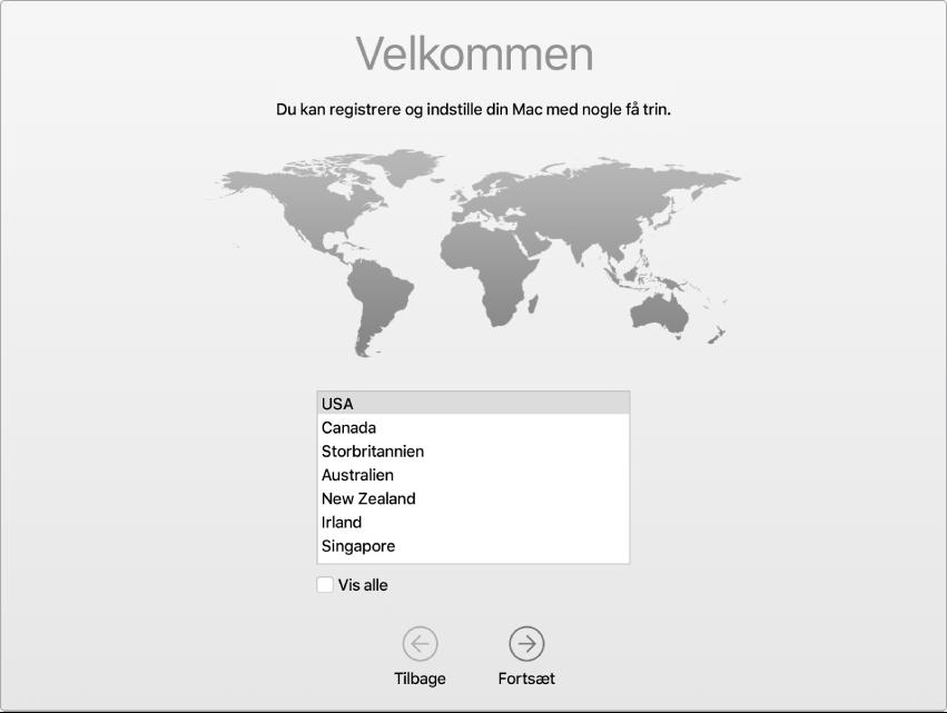 En skærm på Mac med velkomstsiden i Indstillingsassistent.