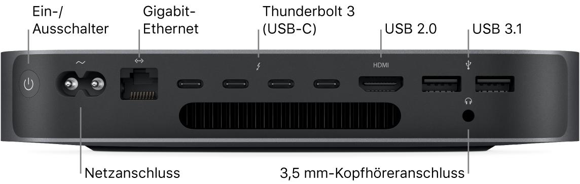 Eine Seitenansicht des Macmini dem Ein-/Ausschalter, dem Netzanschluss, dem Gigabit Ethernetanschluss, vier Thunderbolt3-Anschlüssen (USB3), dem HDMI-Anschluss, zwei USB3-Anschlüssen und dem 3,5-mm-Kopfhöreranschluss.