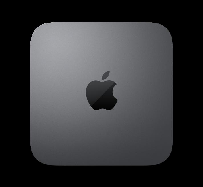 Προβολή πάνω πλευράς του Mac mini.