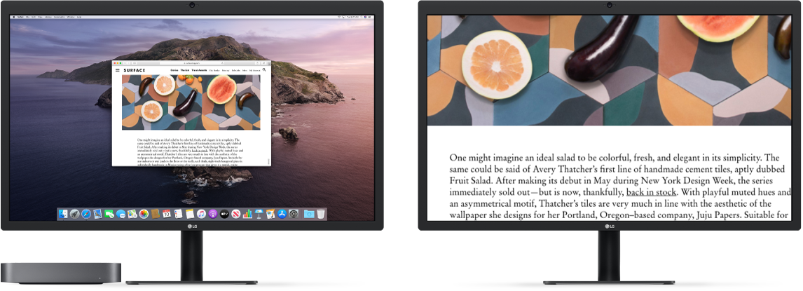 Zoom Display is active on the secondary display, while the screen size stays fixed on the left display.