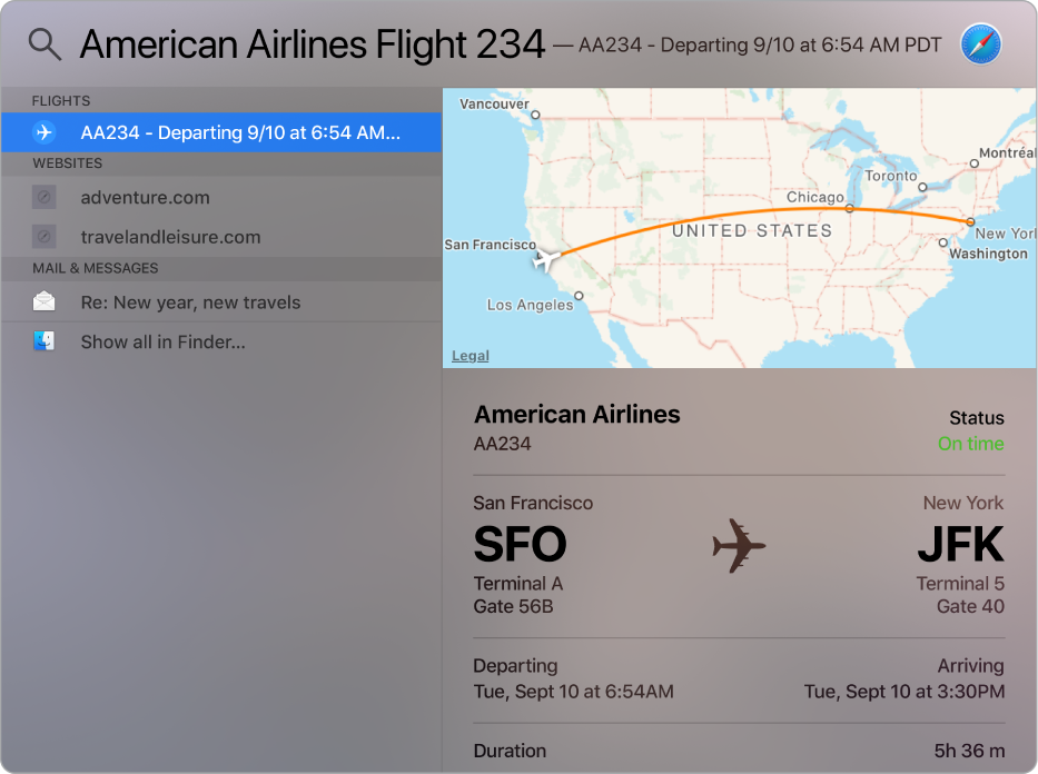 The Spotlight window showing a map and flight info for the flight that you searched for.